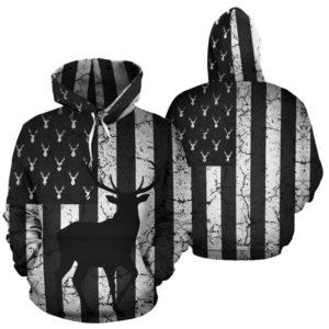 Deer USA Flag broken full hoodie LQT@ animallovepro Deer2656@hoodies 341843