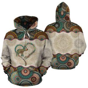 Elephant Heart - Vintage Mandala Full Hoodie SKY@ animallovepro dsgdfgh4345@hoodies 341817