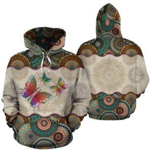 Butterfly - Vintage Mandala Full Hoodie SKY@ animallovepro fdhfgjhfh@hoodies 341713