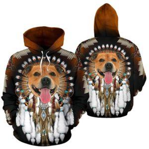 Pitbull Dog - NATIVE AMERICAN ROSETTE - FULL HOODIE NAL@ animallovepro pitbulldogmn164@hoodies 341349