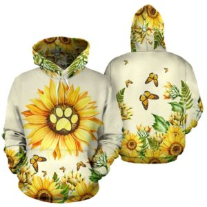 dog paw sunflower butterfly wattercolor Hoodies TTA@ animallovepro thaonu4877375637645@hoodies 341323