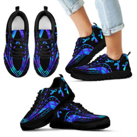 Suicide Awareness Blue Mandala Sneakers, Running Shoes, Shoes For Womens, Mens, Custom Shoes, Low Top Shoes, Customized Sneaker