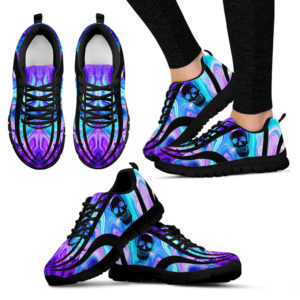 Psydelic skull sneakers@ silveryprint 07052020029cle1ti02ng01tr01sho1skl5109@sneakers 322414