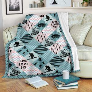 Skiing - Pattern Cross X Blanket - SR@_springlifepro_pieuinsnvm146@premium-blanket Skiing - Pattern Cross X Blanket - Sr Fleece Blanket, Personalized Gifts, Custom Blanket 603976