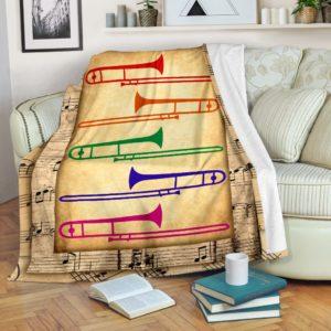 trombone colors blanket@_springlifepro_trombone123d1@premium-blanket Trombone Colors Blanket Fleece Blanket, Personalized Gifts, Custom Blanket 603963
