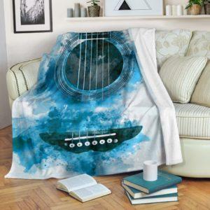 guitar watercolor painting background blanket@_springlifepro_guitar5s75@premium-blanket Guitar Watercolor Painting Background Blanket Fleece Blanket, Personalized Gifts, Custom Blanket 603911