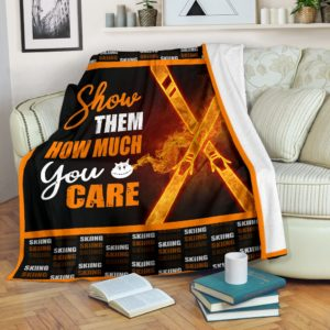 SKIING - SHOW THEM HOW MUCH YOU CARE@_springlifepro_skiing3777903@premium-blanket Skiing - Show Them How Much You Care Fleece Blanket, Personalized Gifts, Custom Blanket 603781