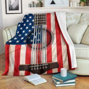 guitar old american flag blanket@_springlifepro_guitv1v52@premium-blanket Guitar Old American Flag Blanket Fleece Blanket, Personalized Gifts, Custom Blanket 603456