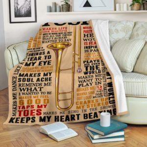 Trombone Music Blanket@_springlifepro_fgdfghmhj@premium-blanket Trombone Music Blanket Fleece Blanket, Personalized Gifts, Custom Blanket 603443