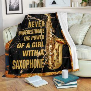 NEVER UNDERESTIMATE THE POWER - SAXOPHONE BLANKER@_springlifepro_SAXOPHONE6526@premium-blanket Never Underestimate The Power - Saxophone Blanker Fleece Blanket, Personalized Gifts, Custom Blanket 603352