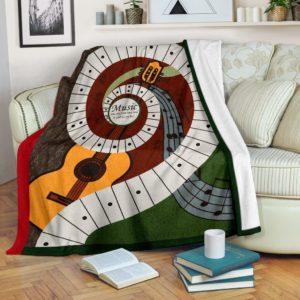 Music was my first love - Guitar Blanket@_springlifepro_MusicD65F@premium-blanket Music Was My First Love - Guitar Blanket Fleece Blanket, Personalized Gifts, Custom Blanket 603170