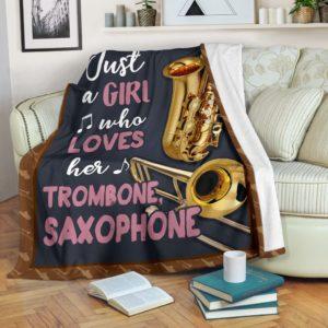 JUST A GIRL WHO LOVES HER trombone, saxophone PRE BLANKET@_springlifepro_tromu8469@premium-blanket Just A Girl Who Loves Her Trombone, Saxophone Pre Blanket Fleece Blanket, Personalized Gifts, Custom Blanket 603157