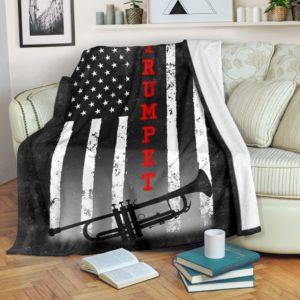 TRUMPET AMERICAN FLAG BLACK BLANKET@_springlifepro_TRUMPET645D6G@premium-blanket Trumpet American Flag Black Blanket Fleece Blanket, Personalized Gifts, Custom Blanket 603032