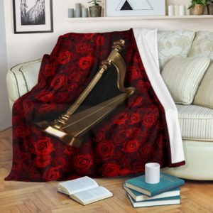 Harp With Rose Pre Blanket@_springlifepro_saad4236@premium-blanket Harp With Rose Pre Blanket Fleece Blanket, Personalized Gifts, Custom Blanket 602967