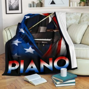 Piano - Flag USA Blanket@_springlifepro_fhjhk@premium-blanket Piano - Flag Usa Blanket Fleece Blanket, Personalized Gifts, Custom Blanket 602668
