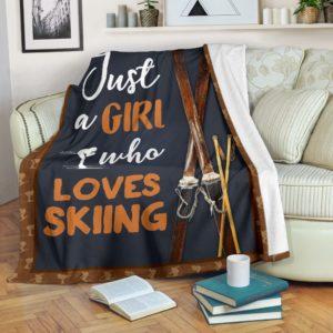 JUST A GIRL WHO LOVES SKIING PRE BLANKET@_springlifepro_skiignu48@premium-blanket Just A Girl Who Loves Skiing Pre Blanket Fleece Blanket, Personalized Gifts, Custom Blanket 602328