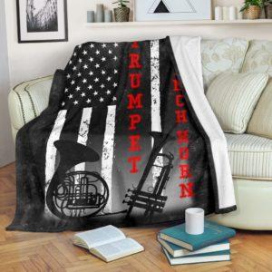 TRUMPET WITH FRENCH HORN AMERICAN FLAG BLACK BLANKET@_springlifepro_TRUMPET6ZHORN@premium-blanket Trumpet With French Horn American Flag Black Blanket Fleece Blanket, Personalized Gifts, Custom Blanket 602016
