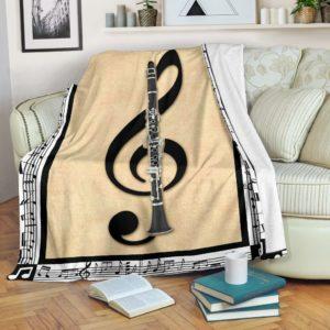 clarinet music note painting blanket@_springlifepro_clarine672674@premium-blanket Clarinet Music Note Painting Blanket Fleece Blanket, Personalized Gifts, Custom Blanket 601860