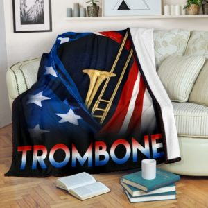 Trombone - Flag USA Blanket@_springlifepro_fdgfdgfggj@premium-blanket Trombone - Flag Usa Blanket Fleece Blanket, Personalized Gifts, Custom Blanket 601769