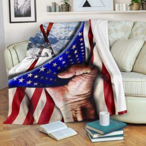 Skiing Hand Flag Blanket@_springlifepro_xadfdg@premium-blanket Skiing Hand Flag Blanket Fleece Blanket, Personalized Gifts, Custom Blanket 601642
