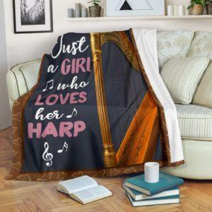 JUST A GIRL WHO LOVES HER harp PRE BLANKET@_springlifepro_haro8590@premium-blanket Just A Girl Who Loves Her Harp Pre Blanket Fleece Blanket, Personalized Gifts, Custom Blanket 601616