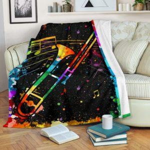 trombone watercolor Blanket@_springlifepro_tromgy8389@premium-blanket Trombone Watercolor Blanket Fleece Blanket, Personalized Gifts, Custom Blanket 601603
