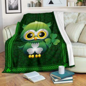 Irish Shamrock Owl Blanket@_springlifepro_dsad45435@premium-blanket Irish Shamrock Owl Blanket Fleece Blanket, Personalized Gifts, Custom Blanket 601590
