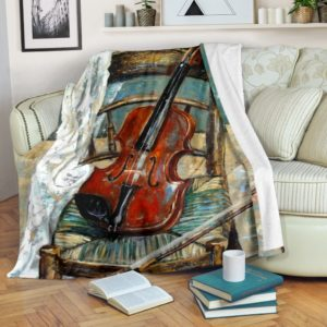 Violin Oil Painting Blanket@_springlifepro_gghjk@premium-blanket Violin Oil Painting Blanket Fleece Blanket, Personalized Gifts, Custom Blanket 601486