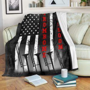 TROMBONE AND BASSOON AMERICAN FLAG BLACK BLANKET@_springlifepro_TROMBONE323SF@premium-blanket Trombone And Bassoon American Flag Black Blanket Fleece Blanket, Personalized Gifts, Custom Blanket 601211