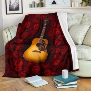 Guitar Classic With Rose Pre Blanket@_springlifepro_sada3425@premium-blanket Guitar Classic With Rose Pre Blanket Fleece Blanket, Personalized Gifts, Custom Blanket 601133