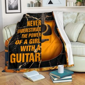 NEVER UNDERESTIMATE THE POWER - GUITAR BLANKER@_springlifepro_GUITAR456d@premium-blanket Never Underestimate The Power - Guitar Blanker Fleece Blanket, Personalized Gifts, Custom Blanket 601120