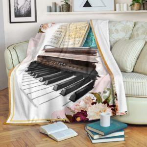 Piano Flower Wattercolor Blanket@_springlifepro_pianoflow205e@premium-blanket Piano Flower Wattercolor Blanket Fleece Blanket, Personalized Gifts, Custom Blanket 600912