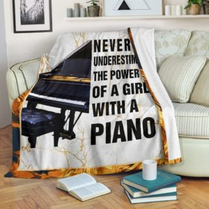 NEVER UNDERESTIMATE THE POWER - PIANO BLANKER@_springlifepro_PIANO456D4F@premium-blanket Never Underestimate The Power - Piano Blanker Fleece Blanket, Personalized Gifts, Custom Blanket 600899