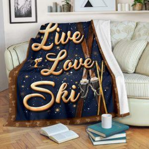 SKIING- LIVE LOVE PRE BLANKET@_springlifepro_SKIIv23v2@premium-blanket Skiing- Live Love Pre Blanket Fleece Blanket, Personalized Gifts, Custom Blanket 600795