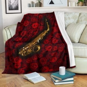 Saxophone With Rose Pre Blanket@_springlifepro_dsad34235@premium-blanket Saxophone With Rose Pre Blanket Fleece Blanket, Personalized Gifts, Custom Blanket 600756