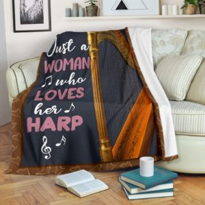 JUST A WOMAN WHO LOVES HER HARP PRE BLANKET@_springlifepro_JUSv2332@premium-blanket Just A Woman Who Loves Her Harp Pre Blanket Fleece Blanket, Personalized Gifts, Custom Blanket 600743