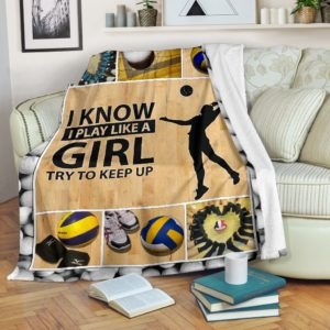Volleyball Blanket@_rockinbee_volleyball_girl_111@premium-blanket Volleyball Blanket Fleece Blanket, Personalized Gifts, Custom Blanket 600404