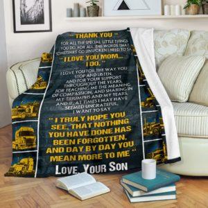 Trucker Blanket@_rockinbee_trucker_mom_910@premium-blanket Trucker Blanket Fleece Blanket, Personalized Gifts, Custom Blanket 600287