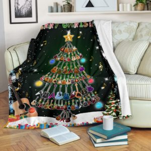 Guitar Blanket@_rockinbee_guitar_tree_1910@premium-blanket Guitar Blanket Fleece Blanket, Personalized Gifts, Custom Blanket 600274