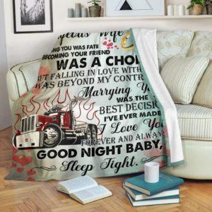Trucker Blanket@_rockinbee_trucker_wife_069@premium-blanket Trucker Blanket Fleece Blanket, Personalized Gifts, Custom Blanket 600118