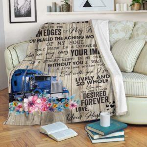 Trucker Blanket@_rockinbee_trucker_image_031@premium-blanket Trucker Blanket Fleece Blanket, Personalized Gifts, Custom Blanket 600001
