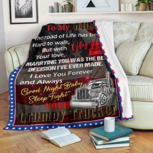 Trucker Blanket@_rockinbee_trucker_wife_189@premium-blanket Trucker Blanket Fleece Blanket, Personalized Gifts, Custom Blanket 599988