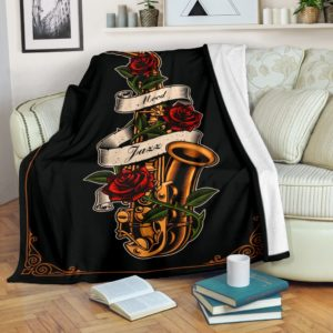 Saxophone with Rose Blanket@_proudteaching_saxrose3557@premium-blanket Saxophone With Rose Blanket Fleece Blanket, Personalized Gifts, Custom Blanket 599820
