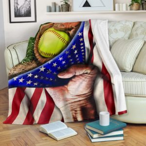 SOFTBALL HAND FLAG BLANKET@_proudteaching_fhf43@premium-blanket Softball Hand Flag Blanket Fleece Blanket, Personalized Gifts, Custom Blanket 599544