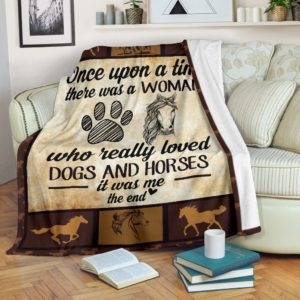 Once upon a time - Dogs and horses@_proudteaching_dog4899@premium-blanket Once Upon A Time - Dogs And Horses Fleece Blanket, Personalized Gifts, Custom Blanket 599475