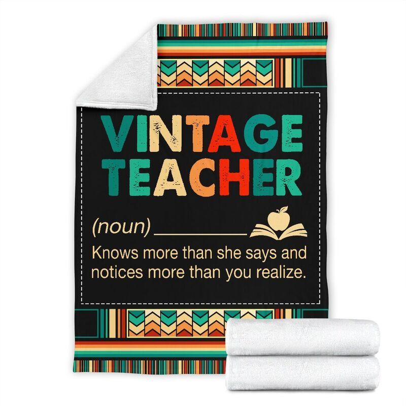 VINTAGE TEACHER BLANKET@_proudteaching_vintea65633@premium-blanket Vintage Teacher Blanket Fleece Blanket, Personalized Gifts, Custom Blanket 599354