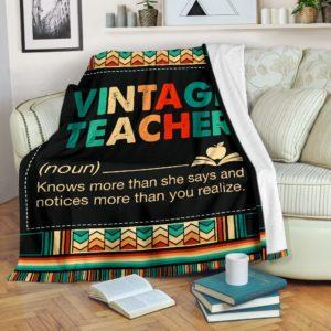 VINTAGE TEACHER BLANKET@_proudteaching_vintea65633@premium-blanket Vintage Teacher Blanket Fleece Blanket, Personalized Gifts, Custom Blanket 599347