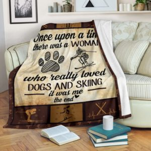 Once upon a time - Dogs and skiing@_proudteaching_dogy45849@premium-blanket Once Upon A Time - Dogs And Skiing Fleece Blanket, Personalized Gifts, Custom Blanket 599276