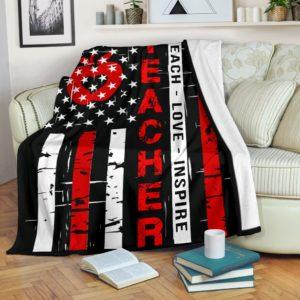 Teacher - Live love Flag Blanket@_proudteaching_teachliv873@premium-blanket Teacher - Live Love Flag Blanket Fleece Blanket, Personalized Gifts, Custom Blanket 599057