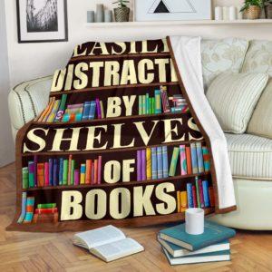 Librarian- easily distracted by shelves of books blanket@_proudteaching_Libv2v33d3@premium-blanket Librarian- Easily Distracted By Shelves Of Books Blanket Fleece Blanket, Personalized Gifts, Custom Blanket 599001